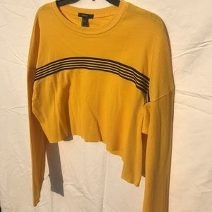 Black and Yellow Longsleeve Cropped Top